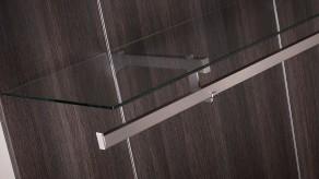 Folded / side-hung bracket for glass shelf