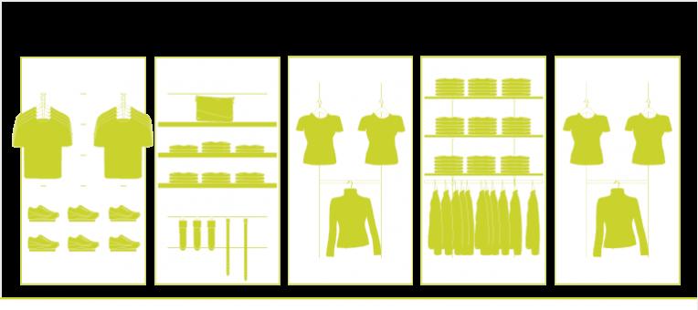 Insert, Profil, Crémaillère pour l'Agencement de Magasin, de Boutique vêtement, prêt à porter