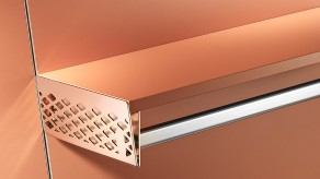 Perforated brackets for clothes rail / wood shelf combination