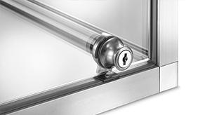 Lock on glass, opening frame on hinge