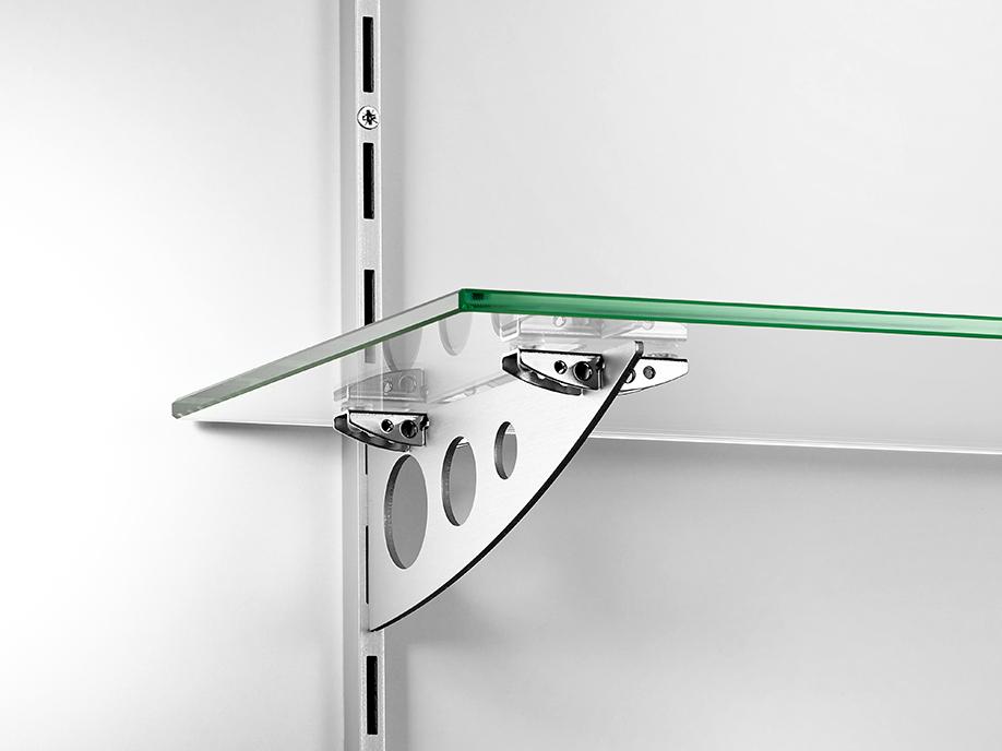 Crémaillère et support en aluminium pour tablettes verre agencement de boutiques