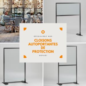 Cloison autoportante de protection sanitaire SOFADI pour les restaurants