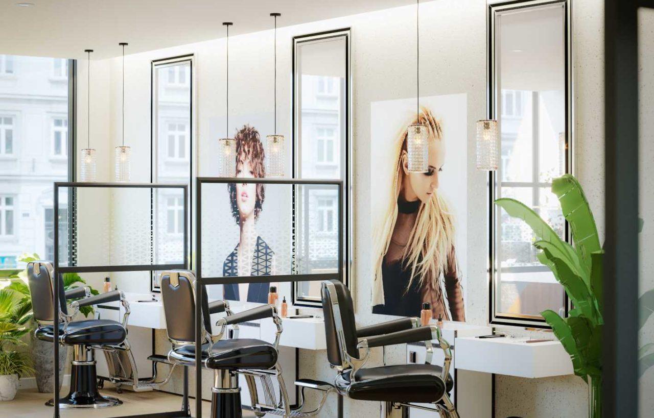 Cloison autoportante de protection sanitaire SOFADI pour les salons de coiffure